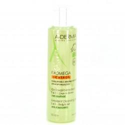 A-Derma Exomega gel limpiador emoliente 2 en 1 cuerpo y cabello, 500ml.